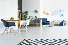 Apartment with wood table stock images