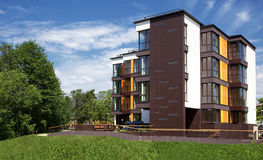 Apartments. New modern apartments house with forest view royalty free stock images