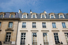 Apartments. French apartments with a blue sky background, Paris, France Royalty Free Stock Images
