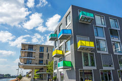 Apartments / Accommodation. Luxury new apartment block with colorful balconies Stock Photos