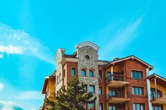 Apartments in Balkans Mountains, Europe, Bulgaria. Luxury houses. At the Pirin Golf village, summertime royalty free stock photo