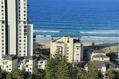 Apartments on beach. Beaches in background of residential towers in surfers paradise Gold coast, Queensland, Australia Stock Photos