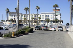 Apartments at the Beach. A Condominium Apartments in Huntington Beach, CA., is fully occupied by the tenants mostly from around the world visiting Huntington Royalty Free Stock Photography