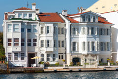 Apartments at the Bosphorus. Apartment houses at the shore of the Bosphorus near Istanbul, Turkey royalty free stock photos