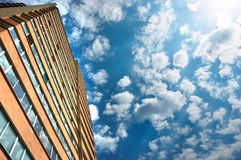Apartments building and cloudy stock image