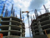 Apartments buildings under construction. Royalty Free Stock Photo