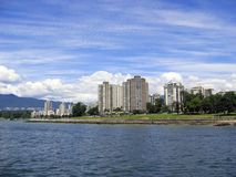 Apartments buildings on the water. Apartment buildings with a water view Stock Images