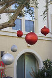 Apartments and christmas balls Stock Image