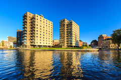 Apartments in a city in evening glow Stock Image