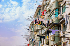 Apartments with clothes hanging to dry Stock Photos