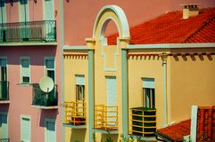 Apartments in colorful modern buildings. Apartments with balconies in colorful modern buildings, in a sunny day at Gouveia. A nice country town with gardens and stock photos