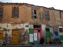 Apartments With Coloured Doors In Heraklion Greece Royalty Free Stock Images