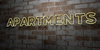 APARTMENTS - Glowing Neon Sign on stonework wall - 3D rendered royalty free stock illustration Royalty Free Stock Photos