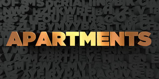 Apartments - Gold text on black background - 3D rendered royalty free stock picture Stock Image