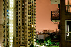 Apartments in Gurgaon. Balcony facing a highrise apartment building. These provide much of Gurgaon's housing solution Stock Photo
