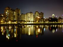 Apartments by kallang basin at night Royalty Free Stock Photo