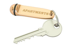 Apartments key with keychain. 3D rendering Stock Photo