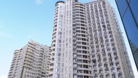 Apartments in a Multi-story Building or Skyscraper. Panoramic view of the Exterior.