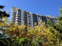 Apartments over gardens skyline trees Royalty Free Stock Photo