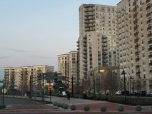 Apartments and a park at Harbor Point in Stamford, Connecticut. STAMFORD, CT - MAR 23: Apartments and a park at Harbor Point in Stamford, Connecticut, as seen on Stock Image