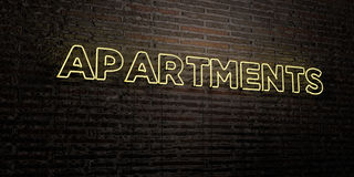 APARTMENTS -Realistic Neon Sign on Brick Wall background - 3D rendered royalty free stock image Royalty Free Stock Photography