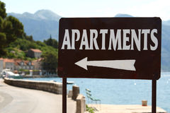Apartments for rent sign. Close-up of apartments for rent sign royalty free stock photos