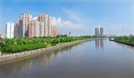Apartments and river Stock Photo
