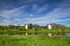 Apartments at the river in Limerick. Apartments at the river in summer scenery Royalty Free Stock Photography