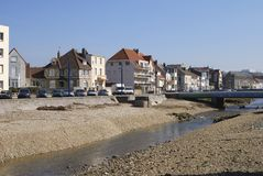 Apartments by river. Wimereux. France Stock Photos