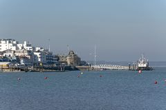 Apartments and the Royal Yacht Squadron building on River Medina, Isle of Wight, UK royalty free stock photo