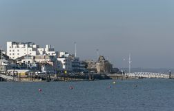 Apartments and the Royal Yacht Squadron building on River Medina, Isle of Wight, UK stock image
