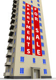 Apartments for sale. Advertising poster on the apartment building Royalty Free Stock Photography