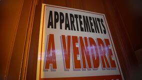 Apartments for sale sign on door, financial crisis, real estate business. Stock footage stock video footage