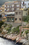 Apartments in Santa Flavia. Stairs from the river leading up to houses and apartments in Santa Flavia, a little village near Palermo stock photos