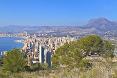 Beach and apartments in Benidorm. Apartments in the tourist city Benidorm. Valencian Community Royalty Free Stock Photo