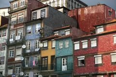 Apartments in the historic town square of Porto Portugal. Apartments with traditional tile façade in the historic town square of Porto Portugal stock photos