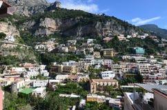 Apartments and Village of Positano Along the Amalfi Coast Royalty Free Stock Images