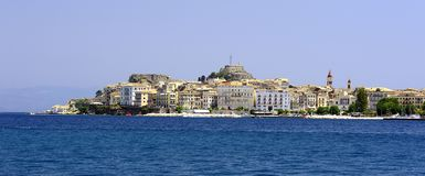 The old and new buildings of Corfu. The apartments on the water front of Corfu stock photography