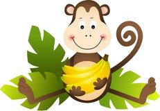 Apasammanträde med bananer Arkivfoto