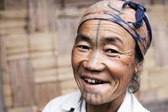 Apatani Tribe Woman. Ziro, Arunachal Pradesh/India - December 13, 2013: Woman from the Apatani tribe. The Apatani are a tribal group of people living in the Ziro stock photography