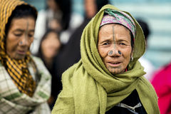 Apatani Tribe. Ziro, Arunachal Pradesh/India - December 14, 2013: Women from the Apatani tribe, with nose plugs, The Apatani are a tribal group of people living stock image