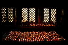 Apatempelstearinljus, Katmandu, Nepal Arkivbilder