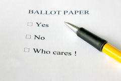 Apathetic ballot paper Stock Photography
