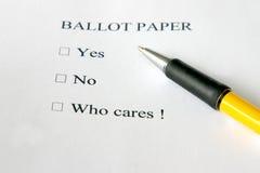 Apathetic ballot paper Stock Photography