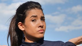 Apathetic Youthful Colombian Youngster. A pretty young Colombian teen girl Stock Photo