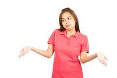 Apathy Asian Woman Shrugging Shoulders Off Screen Stock Image