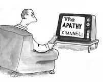 Apathy TV Channel. Cartoon about a lazy man watching the Apathy TV channel Royalty Free Stock Image