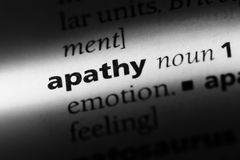 Apathy. Word in a dictionary.  concept stock images