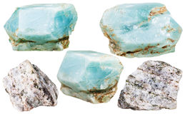 Apatite crystals gemstones and rocks isolated Stock Image