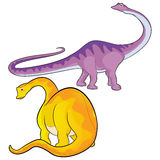 Apatosaurus. Cute  cartoon apatosaurus actions Stock Photo